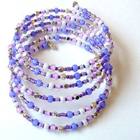 Memory Wire Cuff Bracelet in Lilac and White