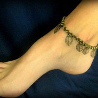 Sexy Summer Anklet - Dangling Leaves in Antique Bronze