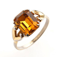 Vintage Uncas Art Deco 10k G.F. Ring -  Size 7.5 Yellow Orange Glass Stone Costume Jewelry / 1930s Designer