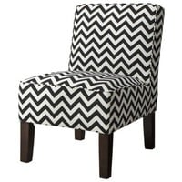 Armless Upholstered Accent Slipper Chair - Black Chevron