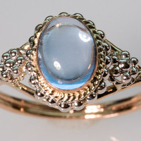 Blue Topaz Crystal Ring - in 14K Gold
