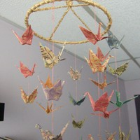 Origami Circular Coil 36 Paper Crane Mobile  by PullingPetals