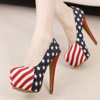 Casual Women Super High Heels Platforms Stiletto Stars Striped Pattern Shoes 1mb