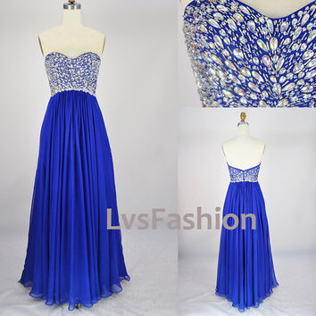 Strapless Sweetheart Beading Chiffon Prom Dress by LvsFashion