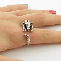 Silver Giraffe Wrap Ring - SIZE 7