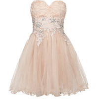 Chi Chi Cream Rose Embroidered Prom Dress