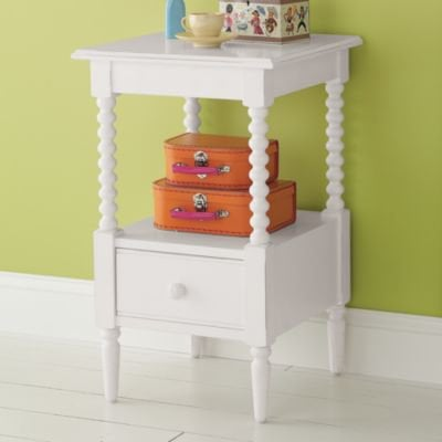 Kids&#x27; Nightstands: Kids White Spindle Jenny Lind Nightstand