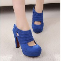 Wholesale Hipster womens ankle boots in cut-out SY-C2141 blue - Lovely Fashion