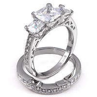 Shekira: Womens 3.9ct 3 Stone Russian Ice on Fire CZ Bridal Wedding Ring Set, 3098, 925 Silver