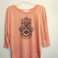 hamsa light orange dolman shirt Small