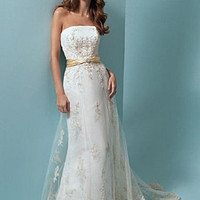 Sheath / Column Strapless Square Satin Wedding Dress - WD3528
