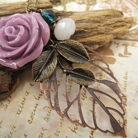 Sweet Lavender Rose necklace with crystals and by trinketsforkeeps
