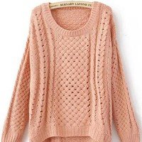 Pink Round Neck Long Sleeve Hollow Sweater S028