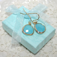 Tiffany Drop Earrings, Mint Blue Ice Turquoise, Blue Aqua Chalcedony faceted Glass drop and gold dangle earrings, Everyday, Gorgeous