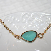 Mint Blue Bracelet, Cool Mint Gold filled bezel set bracelet, Tiffany Mint Dainty Gold Stacking bracelet, Bridal Wedding Bridesmaids favor