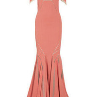 Zac Posen | Stretch satin-crepe fishtail gown | NET-A-PORTER.COM