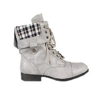 New! Military Combat Boot Fold-over Cuff+multi-color Zipper on the Back