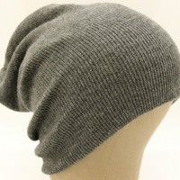 Plain Knit Slouch Style Beanie Hat Dark Grey Made in USA Great Quality