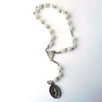 Small Rosary Chain /// Vintage /// Silver Tone Metal and White Plastic Balls