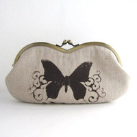 Sunglasses case / Eyeglass Case- butterfly on beige linen -snap case- frame purse