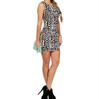 Black/Ivory Tribal Print Scuba Dress