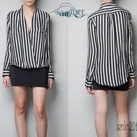 Long Sleeve Chiffon No button stripes Top Blouse