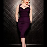 The Masuimi Dress in Deep Plum from Pinup Couture | Pinup Girl Clothing