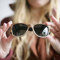 Autumn Handcrafted Wooden Veneered Sunglasses Polarized Wayfarer Style // Maple and Walnut Eyewear