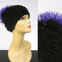 Spiky Fuzzy Hat Black and Purple by NikisKnerdyKnitting on Etsy