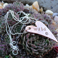 Wild at Heart Necklace - Hammered Copper Heart with Sterling Silver Ball Chain, Hand-Stamped