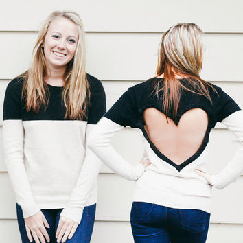 Small READY to SHIP Black / Tan Heart Cut out Sweater  Upcycled Heart Sweater Back Cut Out Sweater Valentine Fashion