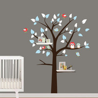 Wall Decals - Shelving Tree with Birds and Owl