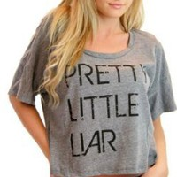 Amazon.com: Pretty Little Liars Oversized Panel Half-Top Distressed Logo Heather Gray T-shirt Tee (Juniors Medium/Large): Clothing