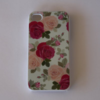 Hard Apple iPhone Case Vintage Floral Rose by CreateItYourWay