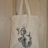 Anatomical Mermaid ORGANIC SHOPPER BAG by wengergirl on Etsy