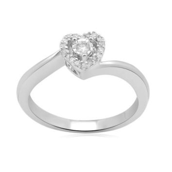 Sterling Silver Diamond Heart Ring (1/10 cttw, I-J Color, I2-I3 Clarity)