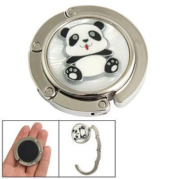 Amico Panda Detail Rhinestone Inlay Round Folding Purse Wallet Hanger