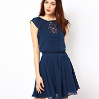 Warehouse Pintuck Lace Tunic Dress at asos.com