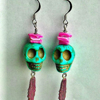 Turquoise Blue Green Day of the Dead Skull by InkandRoses13