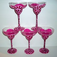 MADE TO ORDER  Painted Margarita Glasses Pink Cheetah Set of 4  tall13 0z. Margarita Glasses