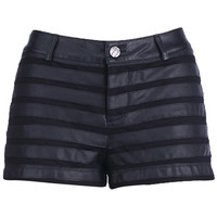 ROMWE | Black Fabric Splicing Shorts, The Latest Street Fashion