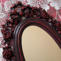 Syroco Black and Red Roses Accent Mirror Vintage Hollywood Regency Valentine Gift