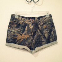 Camouflage Studded High Waisted Shorts by SASHASHORTS on Etsy