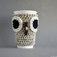Owl Coffee Cozy - Cup Cozy - Crochet Coffee Cozy - Coffee Sleeve - Winter Neutral Black White Grey Gray North Beige Tweed Cloud