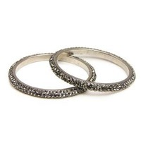 Saachi Anni Austrian Crystal Bangle Grey Set of 2: Jewelry: Amazon.com