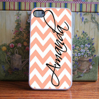Peach Chevron with black name  iPhone 4S and by DanazDesigns