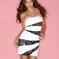 Roberta Juniors Dress, Strapless Ruched Sequin Bandage Striped Mini - Womens Dresses - Macy's