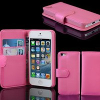 Brand New Pink Wallet Leather Flip Stand Case Cover for iPhone 5 6th Gen 5 G:Amazon:Cell Phones &amp; Accessories