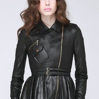 BeauBo-laser cut leather biker jacket