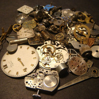 Steampunk Supplies -Watch Wheels,Gears, Watch Faces and MORE-Assemlage, Scrapbooking  - Antique Watch Parts for Jewelry, Altered Art (869)